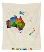 Australia Continent Watercolor Map Tapestry