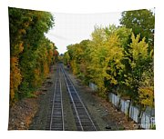Autumn Along The Tracks Tapestry