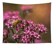 Autumn Bee On Flowers Tapestry