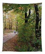 Autumn Bicycling Vertical One Tapestry