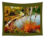 Autumn Birch Lake Boardwalk Tapestry