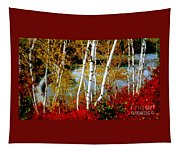 Autumn Birch Lake View Tapestry