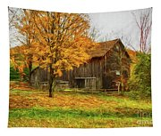 Autumn Catskill Barn Tapestry