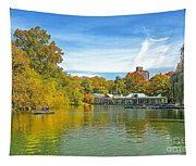 Autumn Central Park Lake And Boathouse Tapestry