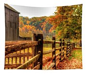 Autumn Fence Posts Scenic Tapestry