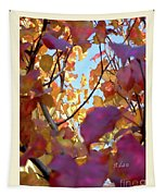 Autumn Leaves In Blue Sky Tapestry