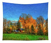 Autumn Moon Rising Tapestry