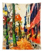 Autumn On The Streets Of Boston Tapestry