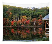 Autumn Reflections And Cabin On Baker Pond Tapestry