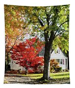 Autumn Street With Red Tree Tapestry