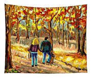 Autumn  Stroll On Mount Royal Tapestry