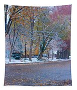 Autumn Winter Street Light Color Tapestry