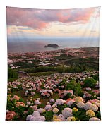 Azorean Town At Sunset Tapestry