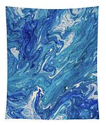 Azure Transfusions Of Ocean Waves Fragment  Tapestry