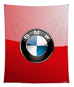 B M W Badge On Red  Tapestry