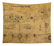 B29 Superfortress Military Plane World War Two Schematic Patent Drawing On Worn Distressed Canvas Tapestry
