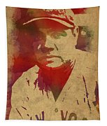 Babe Ruth Baseball Player New York Yankees Vintage Watercolor Portrait On Worn Canvas Tapestry