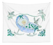 Baby Boy With Bunny And Birds Tapestry