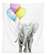 Baby Elephant With Baloons Tapestry by Olga Shvartsur