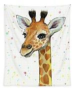 Baby Giraffe Watercolor With Heart Shaped Spots Tapestry by Olga Shvartsur