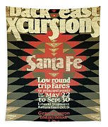 Back East Xcursions - Santa Fe, Mexico - Indian Detour - Retro Travel Poster - Vintage Poster Tapestry