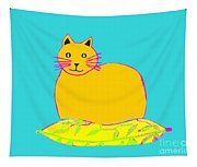 Background Colour Choice Saffron Cat Tapestry