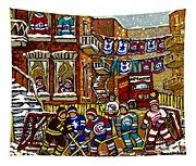 Backlane Snowy Winter Scene Hockey Game Verdun Alley Montreal Team Jerseys Canadian Art Tapestry