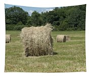 Bales Of Hay In New England Field Tapestry