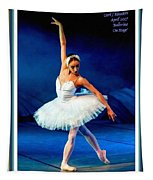 Ballerina On Stage L A With Decorative Ornate Printed Frame. Tapestry