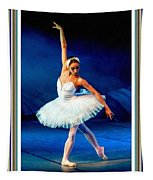 Ballerina On Stage L B With Alt. Decorative Ornate Printed Frame. Tapestry
