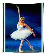 Ballerina On Stage L B With Decorative Ornate Printed Frame. Tapestry