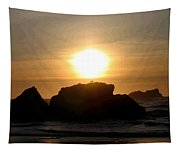 Bandon Beach Silhouette Tapestry