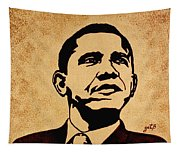 Barack Obama Original Coffee Painting Tapestry