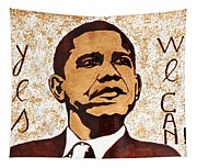 Barack Obama Words Of Wisdom Coffee Painting Tapestry