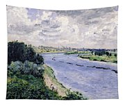 Barges On The Seine Tapestry