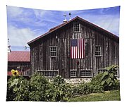 Barn And American Flag Tapestry