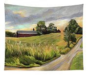 Barn On The Ridge In West Newbury Vermont Tapestry
