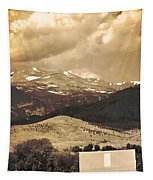 Barn With A Rocky Mountain View In Sepia Tapestry