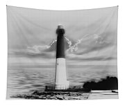 Barnegat Lighthouse In Black And White Tapestry