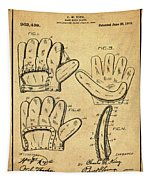 Baseball Glove Patent 1910 Sepia With Border Tapestry