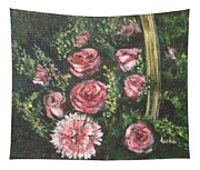 Basket Of Pink Flowers Tapestry