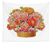 Basket With Ranunculus Flowers Watercolor Tapestry
