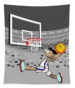 Basketball Player Jumping And Flying To Shoot The Ball In The Hoop Tapestry