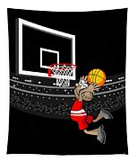Basketball Player Jumping In The Stadium And Flying To Shoot The Ball In The Hoop Tapestry