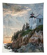 Bass Harbor Lighthouse On Maine Nautical Chart Tapestry