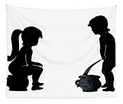 Bathroom Silhouettes Tapestry