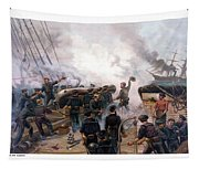 Battle Between Kearsarge And Alabama Tapestry