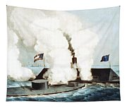 Battle Of The Monitor And Merrimack Tapestry