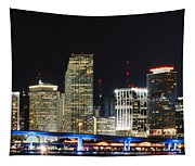 Bay Front Miami Skyline Tapestry