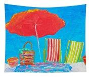 Beach Art - The Red Umbrella Tapestry